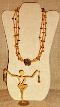 Photo: <BEREHYNYA> {Great Goddess Protectress} unique one-of-a-kind statement jewellery by Luba Bilash ART & ADORNMENT  # 120 VOLCANIC TREASURE ~ ВУЛКАНІЧНІ СКАРБИ - agate, carnelian, smoky quartz, gold vermeil, 14K gold vermeil $85/set SOLD/ПРОДАНИЙ