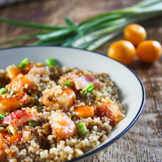 Apricot and Bacon Glazed Shrimp with Quinoa.