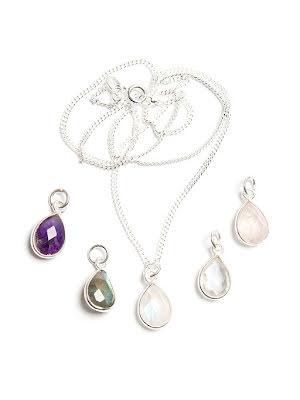 Kristallhänge, fasettslipad droppe i silverinfattning