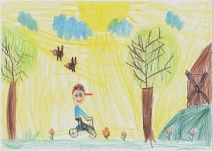 """Photo: wyróżnienie : praca Szymona""""Jeżdżę rowerem , bo lubię"""""""