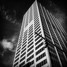 Downtown Cbus BW by Nick Remick - Black & White Buildings & Architecture ( sky, skyscraper, black and white, building, traffic light )
