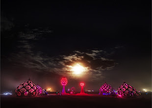 Photo: Strange Temples in the Moonlight  While walking home one evening through the desert, I came across these bizarre structures under a rising moon...