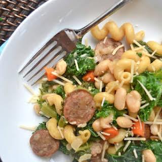 Tuscan White Bean and Sausage Pasta Skillet.