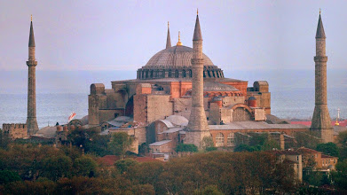 Photo: composite of Aya Sophia from Galata tower