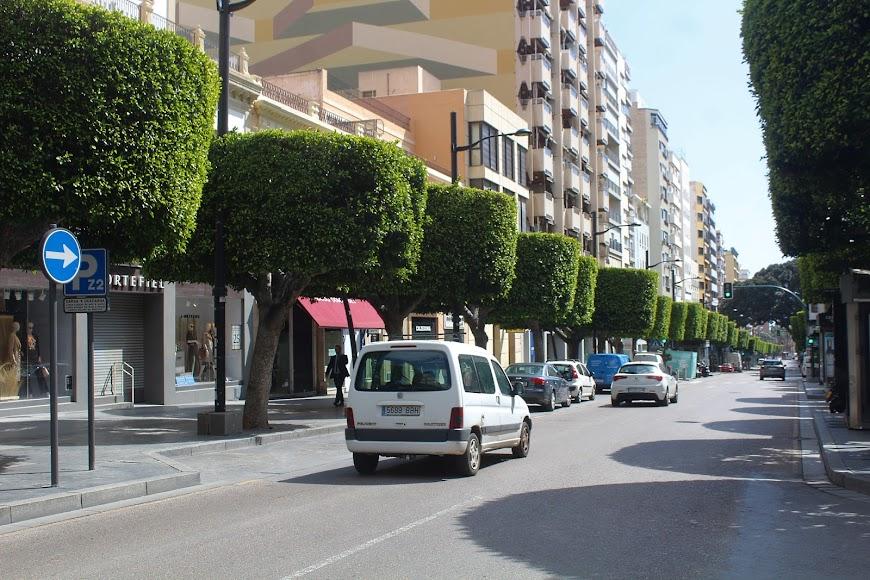 Poco tráfico de vehículos en el Paseo de Almería.