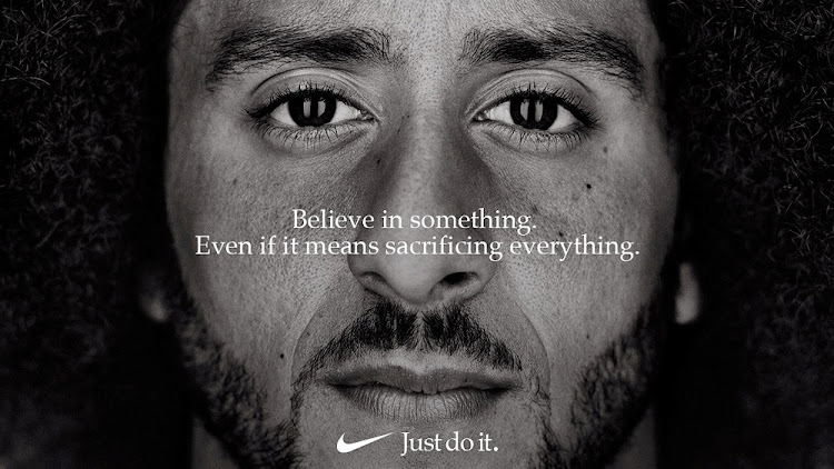 "Former San Francisco quarterback Colin Kaepernick appears as a face of the Nike ad marking the 30th anniversary of its ""Just Do It"" slogan. Picture: NIKE/REUTERS"