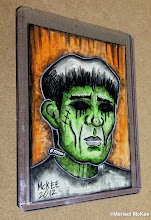 Photo: Frankenstein. 2.5 x 3.5 inches. Mixed medium on Bristol paper. Comes in a clear rigid plastic top-loader. ©Marisol McKee