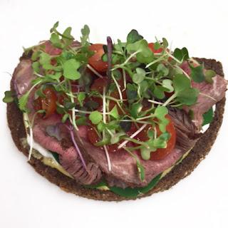 Roast Beef and Tarragon Tomato Salad on Pumpernickel Rye-Ola.