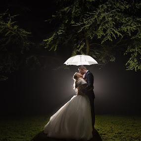 Things Are Looking Up by Nigel Hepplewhite - Wedding Bride & Groom ( kiss, flash, night photography, dress, beautiful, bride, groom )
