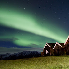Aurora Boralis by Rúnar Ingimarsson - Landscapes Starscapes ( old farmhouse, holar, sky, aurora borealis, northen light )