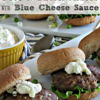 Beef and Bacon Sliders with Blue Cheese Sauce.