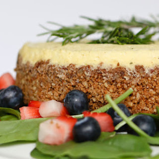 Pressure Cooker Blue Cheese Cheesecake with Strawberry Spinach Salad and Balsamic Vinaigrette.