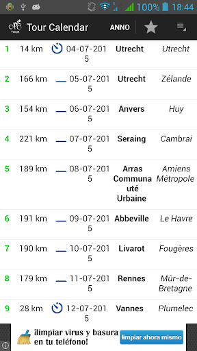 环法自行车赛日历,阶段和结果。同步与内部日历