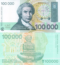 Photo: Ruggero Boscovich, 100000 Croatian October Dinar (1993). This note is now obsolete.
