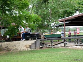 Photo: Charles Williams taking out his narrow gauge steam loco with Stu Marion pointing the way.     HALS 2009-0919