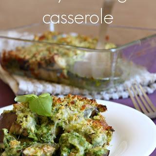 Cheesy Aubergine Casserole With Three Green Pesto
