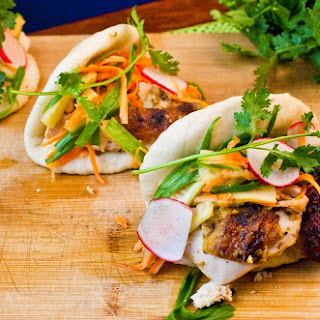Oven Roasted Chinese Five Spice Chicken with Banh Mi Style Slaw on Steamed Buns.