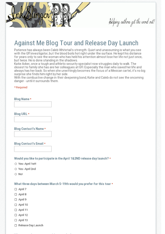 Against Me Blog Tour and Release Day Launch