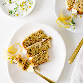 Lemony Zucchini Cake with Goat Cheese Frosting from Layered.