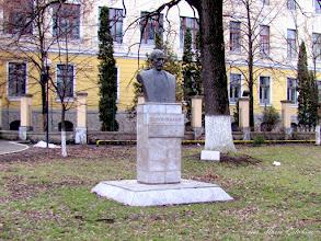 "Photo: Str. Dr. Ioan Ratiu, Nr.111 - Colegiul National ""Mihai Viteazul"" - Bustul lui Teodor Murasanu si ""Stejarul Unirii"" - (2011.02.21) -"