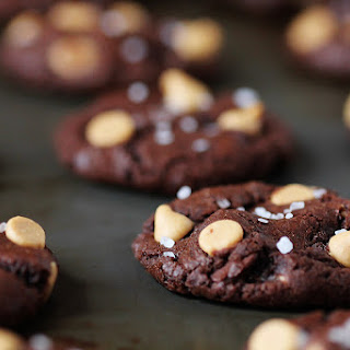 Salted Dark Chocolate Peanut Butter Cookies.
