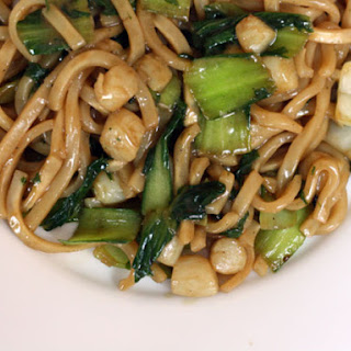 Udon Noodles with Bay Scallops and Baby Bok Choy.