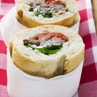 Beef and Horseradish Baguette Sandwiches.