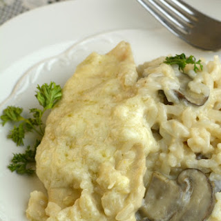One Pot Instant Pot Asiago chicken with Mushroom Risotto