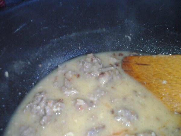 De glaze pan with chicken stock stir well.