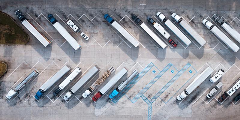 Trucks Parked at Truckstop