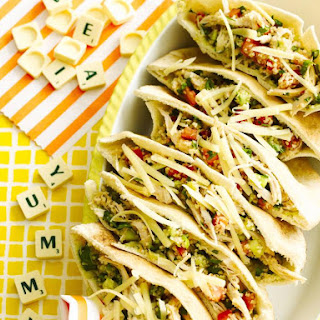 Shredded Chicken and Tabouli Pitas.