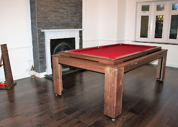 Spartan Pool Table With Red Felt In a dining area in front of a fireplace