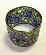 Photo: Plique-à-Jour Enamels by Diane Echnoz Almeyda - Shamrock Napkin Ring - Fine Silver, Plique-à-Jour Enamels - Approximate size 32mm (h) x 40mm (diam) - $450.00 US