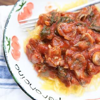 Spaghetti Squash with Sausage and Mushroom Bolognese.