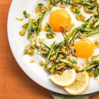 Sunny Side Up Eggs on Asparagus and Brussels Sprouts Hash {Gluten-Free, Dairy-Free} Recipe