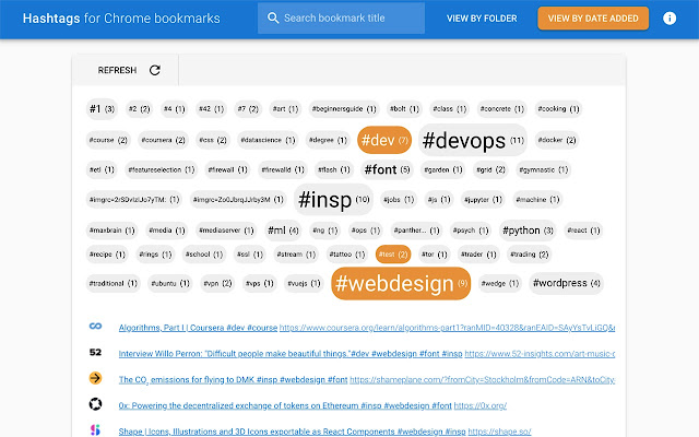 Hashtags for Chrome bookmarks