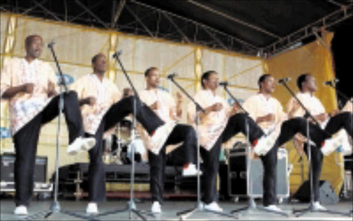 STEPPING OUT: Ladysmith Black Mambazo were the star attraction at the MTN Onkweni Royal Cultural Festival in Ulundi at the weekend. Pic. MHLABA MEMELA. 04/10/2009. © Sowetan.
