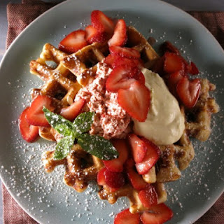 Strawberry Waffles with Strawberry-Black Pepper Butter and Lemon Curd Cream