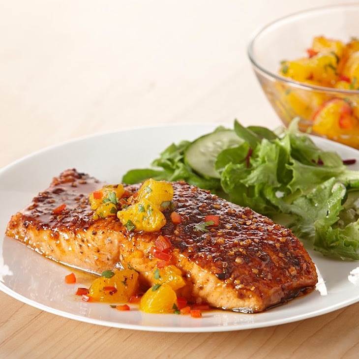 Sweet 'N Smoky Salmon with Orange Salsa Recipe