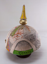 "Photo: Ed Karch & Beth Ireland 10"" x 8"" pickelhaube [holly, leather, gold paint, pen and ink]"