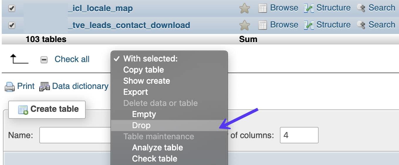 Drop tables in phpMyAdmin