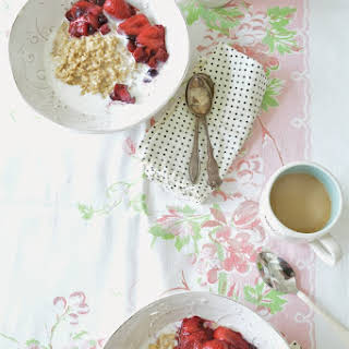 Oatmeal with Berry Rhubarb Compote.