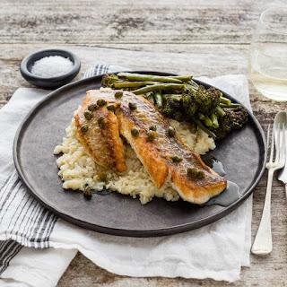 Crispy-Skinned Fish with Cauliflower Parsnip Purée, Roast Vegetables and Lemon Caper Sauce.