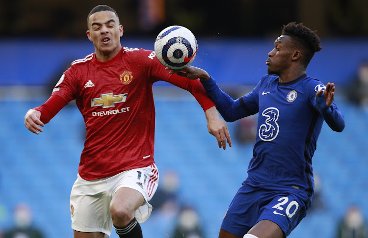 The ball hits the hand of Callum Hudson-Odoi of Chelsea as he is is challenged by Mason Greenwood of Manchester United which was reviewed by VAR during the Premier League match between Chelsea and Manchester United at Stamford Bridge on February 28, 2021 in London, England. Picture: GETTY IMAGES/POOL/IAN WALTON