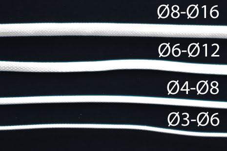 Nanoxia kabelstrømpe, tettflettet, Ø4-Ø8mm, hvit