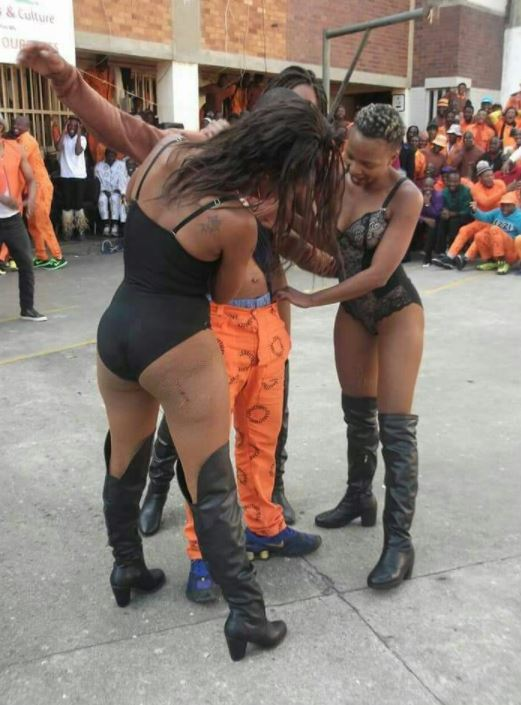 Pictures of strippers 'entertaining' prisoners have set tongues wagging. Image: Twitter/DJ Fresh