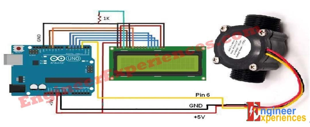 Circuit Diagram of water flow meter using FY-S201 sensor