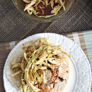 Soy Seared Cod Tacos with Spicy Slaw.