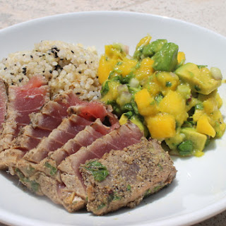 Grilled Tuna Saturday with Mango Salsa and Brown Rice.