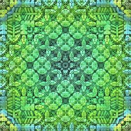 Secret Garden by Lyle Hatch - Illustration Abstract & Patterns ( secret garden, 3d, green, mandelbulb 3d, detailed, square format, 3-d, leafy, fractal, garden, intricate, three dimensional )